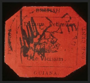 Sale Number 371, Lot Number 279, BRITISH GUIANA, 1856, 1c Black on Magenta (13)