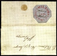 Sale Number 776, Lot Number 11, BERMUDA, William B. Perot, 1854, 1p Red on Bluish Wove Paper (X2; SG O4)