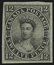 Sale Number 895, Lot Number 446, CANADA, 1851, 12p Black, Laid (3; SG 4)