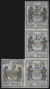Sale Number 937, Lot Number 13, St. Louis Mo., 5c & 10c Black on Gray Lilac, Se-Tenant (11X4-11X5)