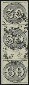 Sale Number 957, Lot Number 17, 1843, 30r/30r/60r Black, Se-Tenant Strip of Three (1d)