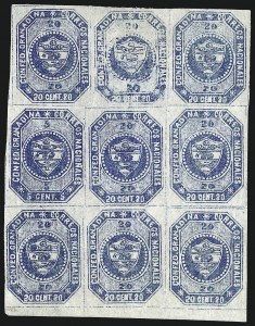 Sale Number 957, Lot Number 187, 1859, 5c and 20c Blue, Se-Tenant (6b)