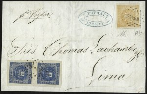 Sale Number 957, Lot Number 281, 1858, 1d Deep Blue, -1/2p Orange Yellow (3, 6a)