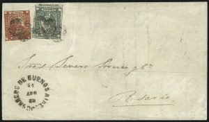 "Sale Number 957, Lot Number 53, 1858, 3p ("" Tres Ps"" ) Green, 4p ("" Cuato Ps"" ) Vermilion (3, 4)"
