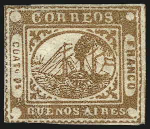 "Sale Number 957, Lot Number 56, 1858, 4p ("" Cuato Ps"" ) Chestnut Brown, Error of Color (4 unlisted variety)"