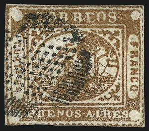 "Sale Number 957, Lot Number 57, 1858, 4p ("" Cuato Ps"" ) Chestnut Brown, Error of Color (4 unlisted variety)"