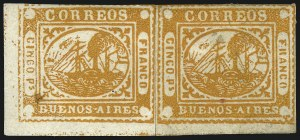 "Sale Number 957, Lot Number 58, 1858, 5p ("" Cinco Ps"" ) ("" Cinco Ps"" ) Orange (5)"