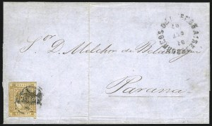 "Sale Number 957, Lot Number 63, 1858, 5p ("" Cinco Ps"" ) ("" Cinco Ps"" ) Ocher (5a)"