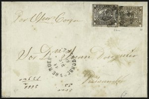 "Sale Number 957, Lot Number 73, 1858, 4r ("" Cuato rs"" ) Brown, 1p ("" In Ps"" ) Light Brown (1, 6)"