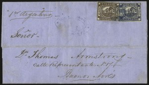 "Sale Number 957, Lot Number 74, 1858, 4r ("" Cuato rs"" ) Brown, 1p ("" In Ps"" ) Blue (1, 6)"