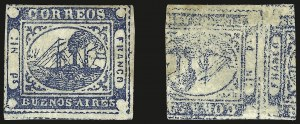 "Sale Number 957, Lot Number 87, 1859, 1p ("" In Ps"" ) Blue, Printed on Both Sides (7b)"