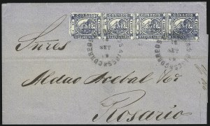 "Sale Number 957, Lot Number 97, 1859, 1p ("" In Ps"" ) Blue (7)"