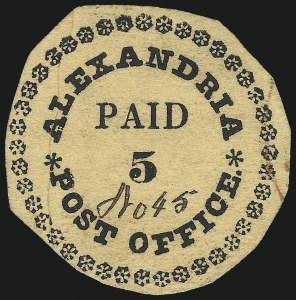 Sale Number 1025, Lot Number 8, Alexandria, District of Columbia (or Virginia), 5c Black on Buff, Type I with 40 Ornaments (1X1)
