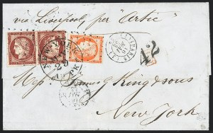 Sale Number 1127, Lot Number 131, FRANCE, 1849, 1fr Dark Carmine on Yellowish, Tete-Beche Pair (9a; Yvert 6e)