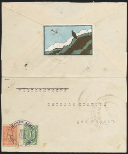 "Sale Number 1168, Lot Number 3030, COLOMBIA, 1920, 10c ""SCADTA"", Condor on Cliff, Without Surcharge - Outbound Flight (C8 var)"