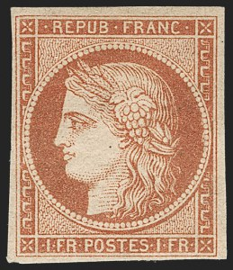 Sale Number 1177, Lot Number 1006, FRANCE, 1849, 1fr Dull Orange Red (Vermillon Terne) on Yellowish (8a; Yvert 7B)