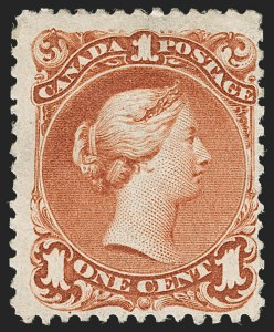 Sale Number 1178, Lot Number 1200, CANADA, 1868, 1c Brown Red, Laid Paper (31; SG 55a)