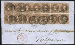 Chile, 1854, 5c Lithograph (7a), the largest and finest of the three recorded Lithographed blocks and the only one known on cover, sold by Siegel in 2008 for $632,500