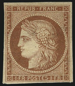 France, 1849, 1fr Dull Orange Red on Yellowish Paper (8a; Yvert 7b), realized $86,250 in November 2013