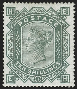 G.B., 1883, 10sh Grey Green on Blued Paper