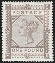 G.B., 1882, £1 Brown Lilac on Blued Paper
