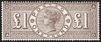 G.B., 888, £1 Brown Lilac, Watermark Orbs