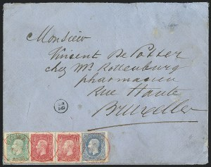 Belgian Congo, 1886, 5c-25c (1-3; COB 1-3)On Cover to BelgiumTo be Offered Spring 2016