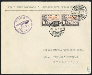 "Finland, 1930, ""1830"" Error (C1a; Sieger 89D)On Flown Cover to SwedenTo be Offered Spring 2016"