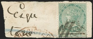 Dominica, 18861p on 4p Green